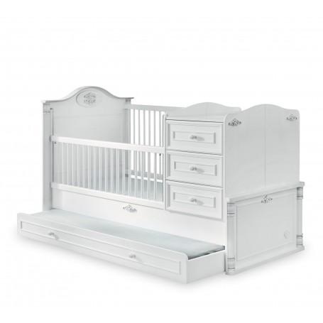 Romantisk utdragbar spjälsäng / växasäng (80x180 Cm) med sänglådor