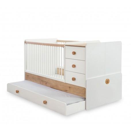 Natura Baby utdragbar spjälsäng / växasäng (80x180 Cm) med sänglådor