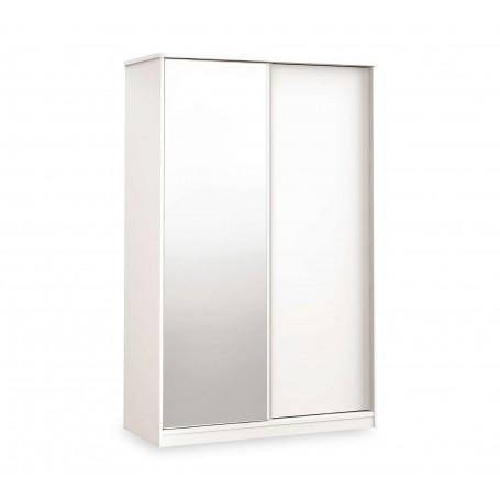 White skjutgarderobmed spegel