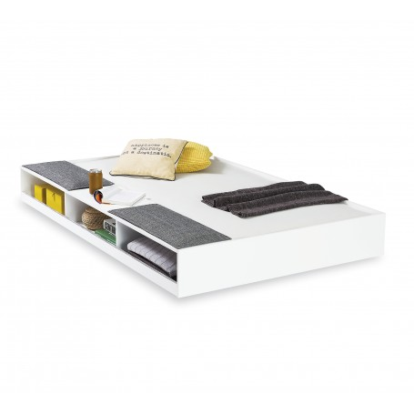 White sänglådor med hyllor (90x190 Cm)