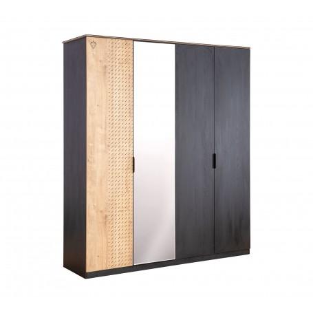 Black 4 dörrar garderob