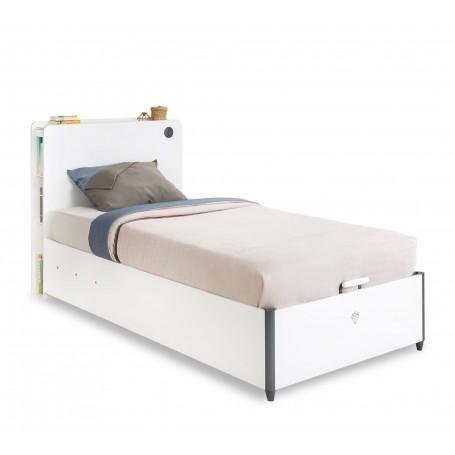White säng med förvaring (100x200 Cm)